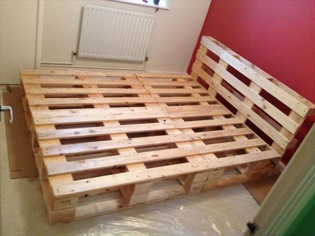 Painted Pallet Bed Frame