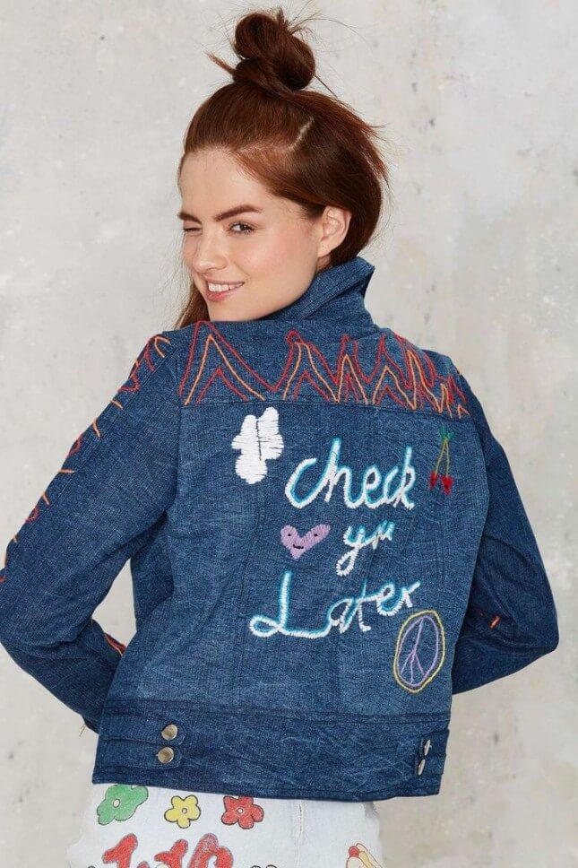 Emma Mulholland Check You Later Embroidered Denim Jacket
