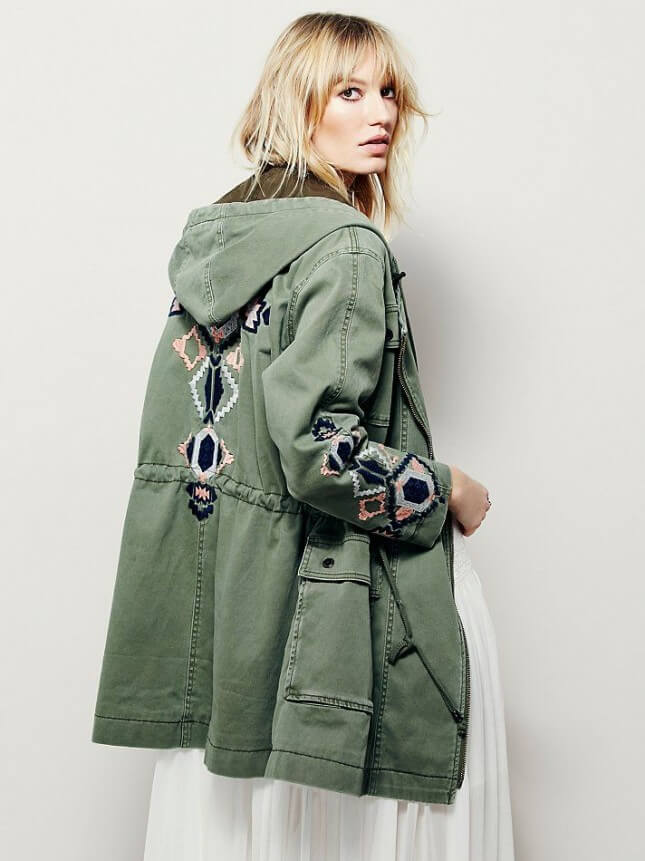. Free People Embroidered Twill Parka