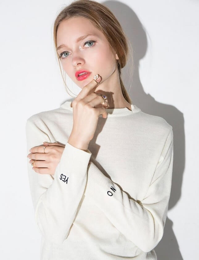 Pixie Market Yes or No Embroidered Word Sweater