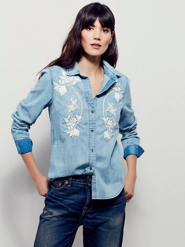 Free People Because You Are Mine Embroidered Top