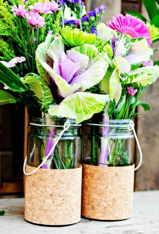 Cork Covered Vases