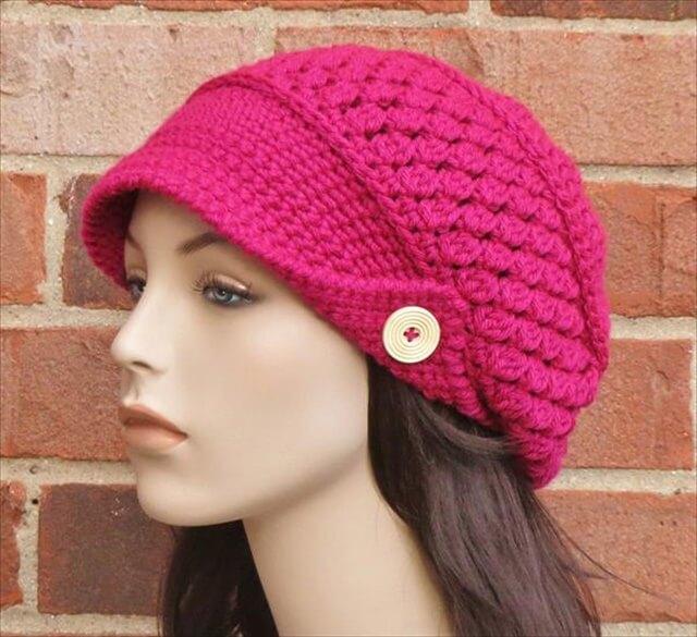 diy free crochet newsboy hat