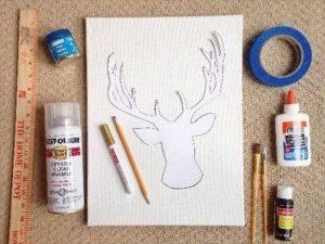 DIY Sparkly Reindeer Head Canvas