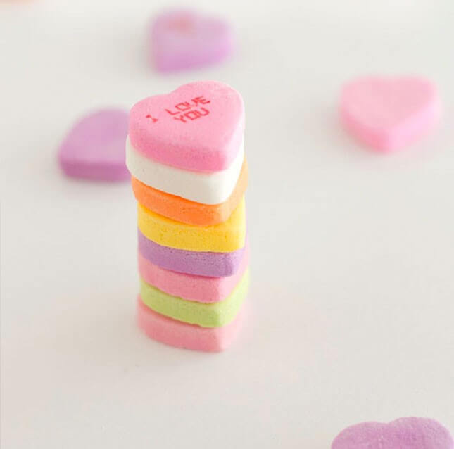Conversation Hearts Stacking Game: