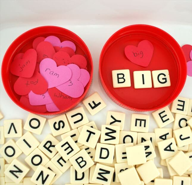 Valentine Hearts Spelling Game: