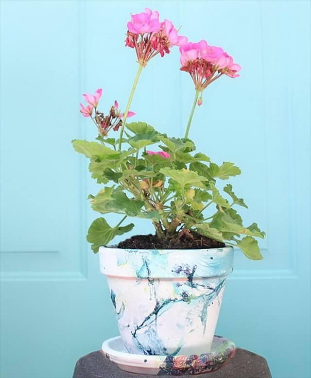 DIY Marbled Planters