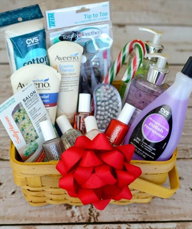 Diy budget friendly gift basket for holiday diy to make holiday gift idea diy manicure gift basket solutioingenieria Images