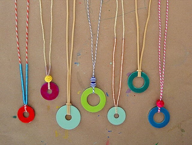 DIY Washer Necklaces with Nail Polish