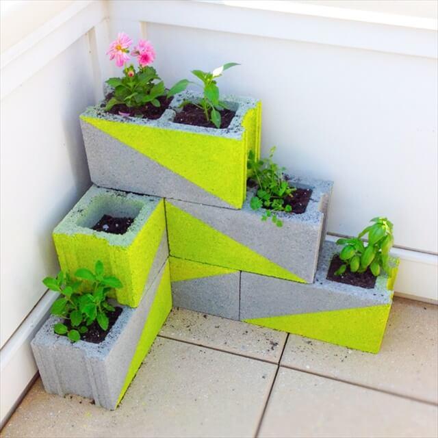 Neon Cement Planters