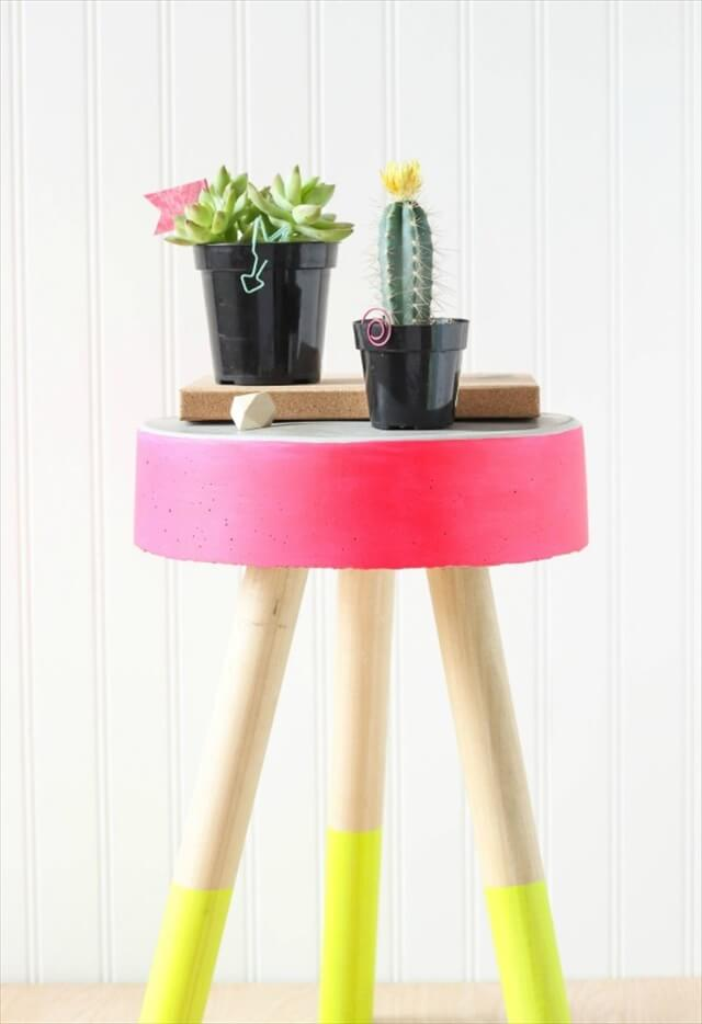 Neon Concrete Stool