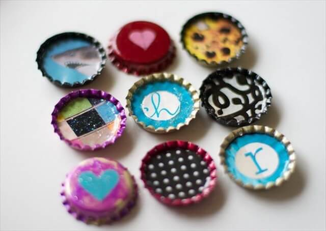 Paint Cute Bottle Cap Magnets with Nail Polish