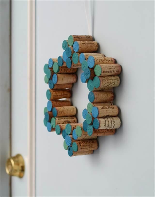 Painted Wine Cork Wreath