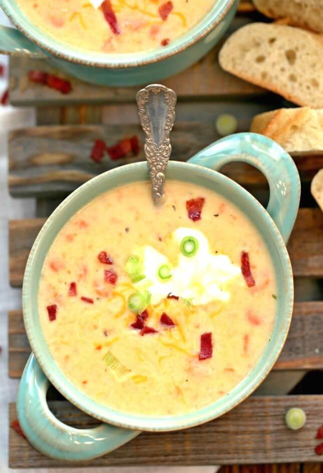 Skinny Loaded Potato Soup: