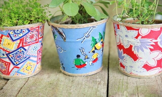 DIY Upcycled Fabric Covered Pots