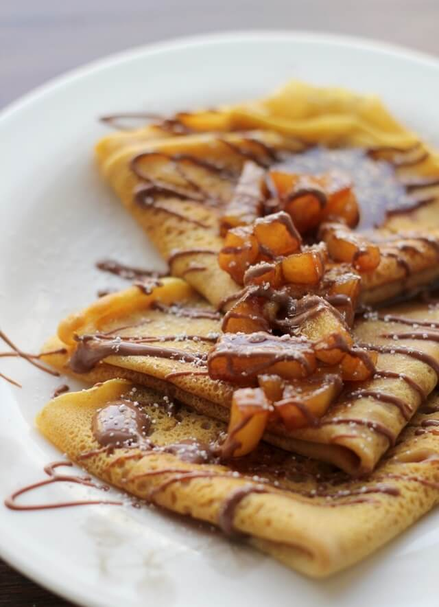 Pumpkin & Cinnamon Apple Crepes with Chocolate Drizzle