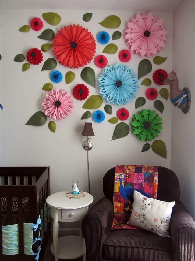 It matches her quilt and brings the color up to the ceiling.