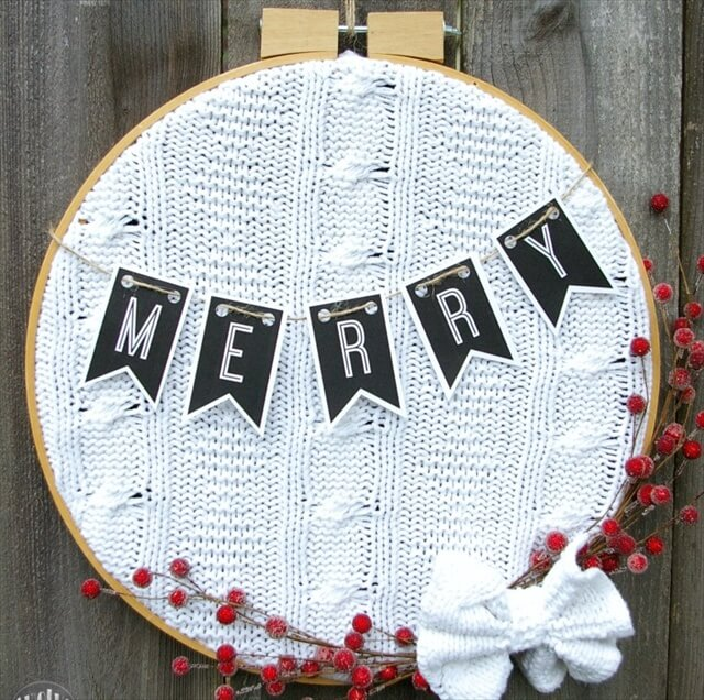 Upcycled Sweater Wreath