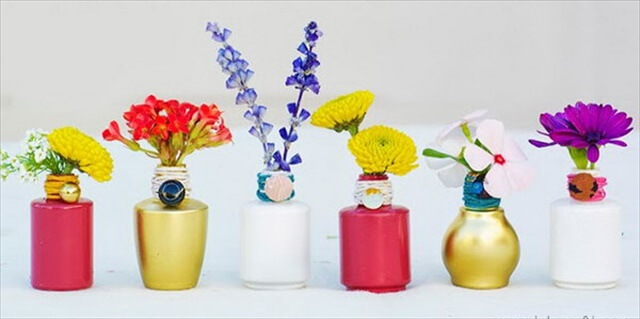 DIY Mini Polish Bottle Vases