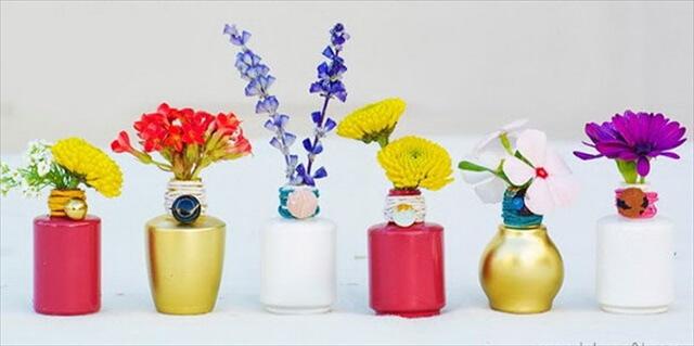 DIY Mini Polish Bottle Vases