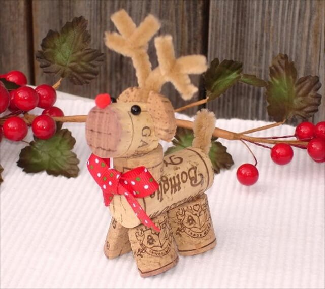 Wine Cork Art Reindeer