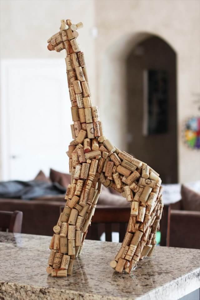 Wine Cork Giraffe Sculpture