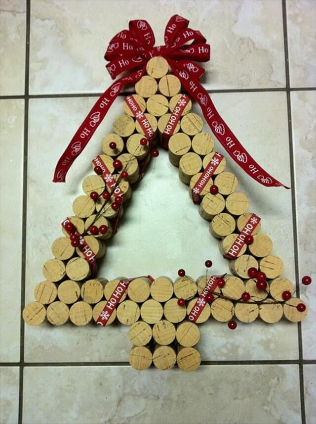 Christmas Tree Shaped Wine Cork Wreath
