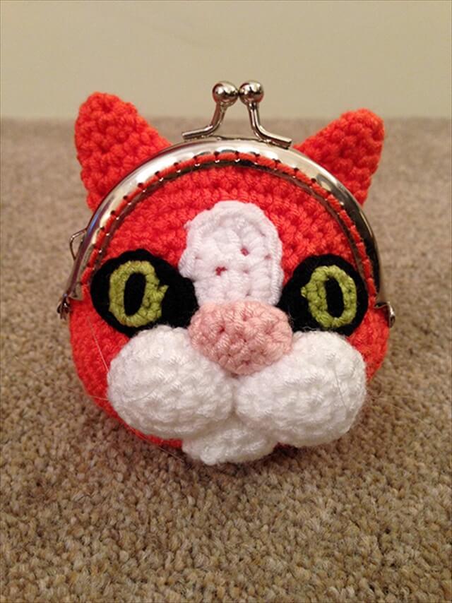 Cat Coin Purse amigurumi crochet pattern