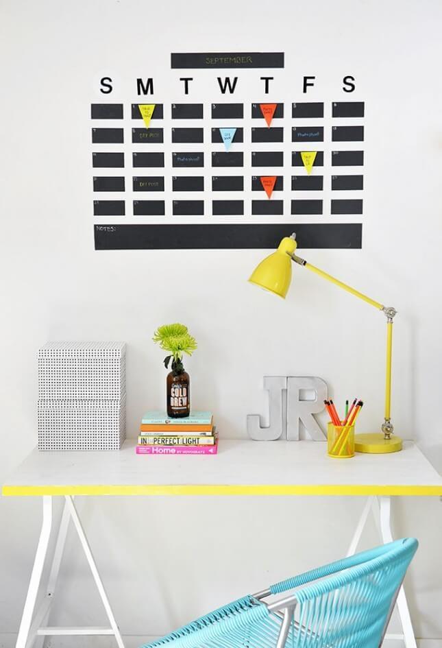 Chalkboard Tape Wall Calendar
