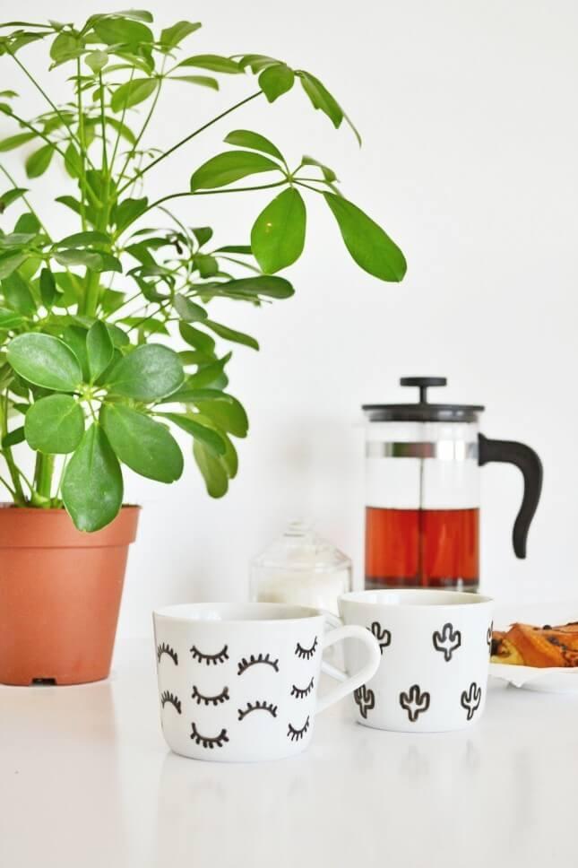 DIY Eyelash and Cactus Mug
