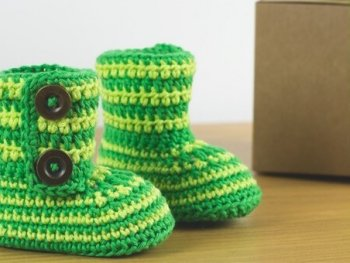 Green Zebra Baby Booties