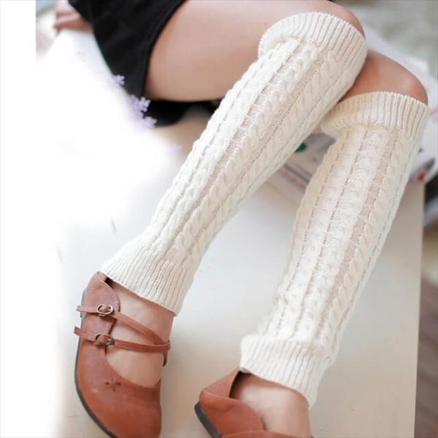 White Leg warmer with socks