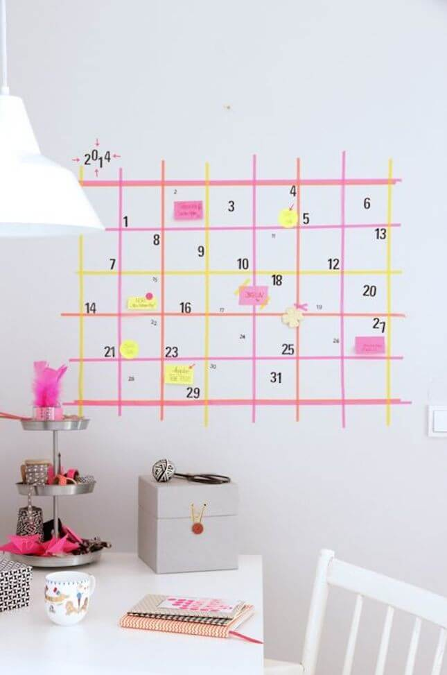 DIY Masking Tape Wall Calendar