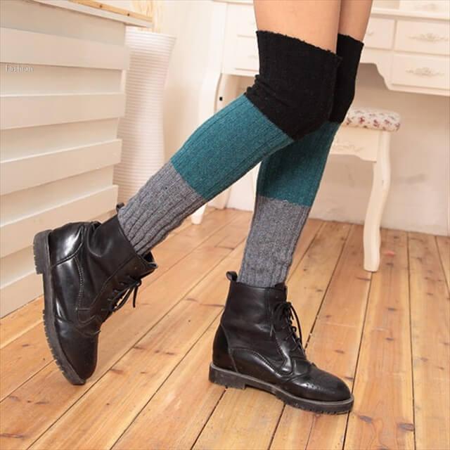 Gradient Color Winter New Pacthwork Crochet Women Gaiters Fashion Women Boot Socks Leisure