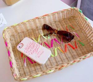 DIY Yarn Embroidered Baskets