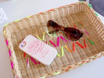 DIY Yarn Embroidered Baskets