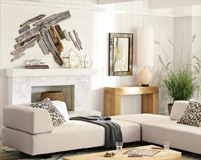 You can create abstract wood wall art with drift wood planks.