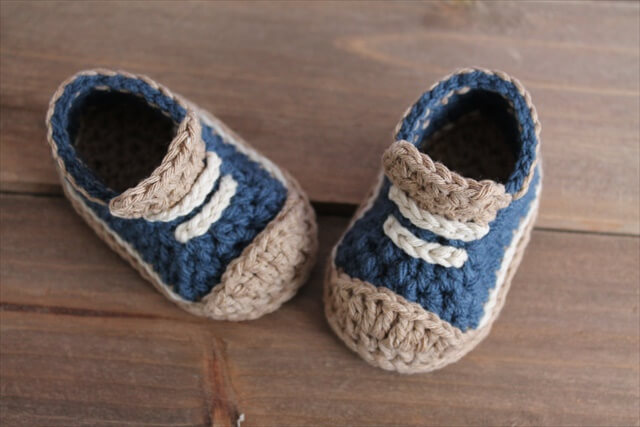 "Crochet Pattern for Boys Booties ""Crete"" Sneaker, Modern Pattern, low top sneaker"