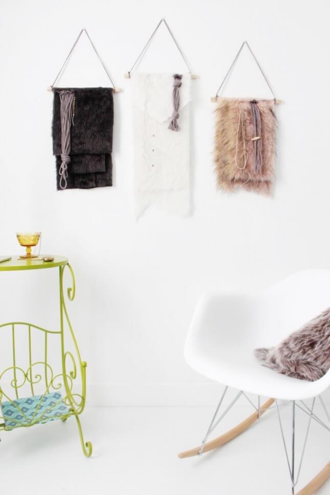 DIY Faux Fur Wall Hanging