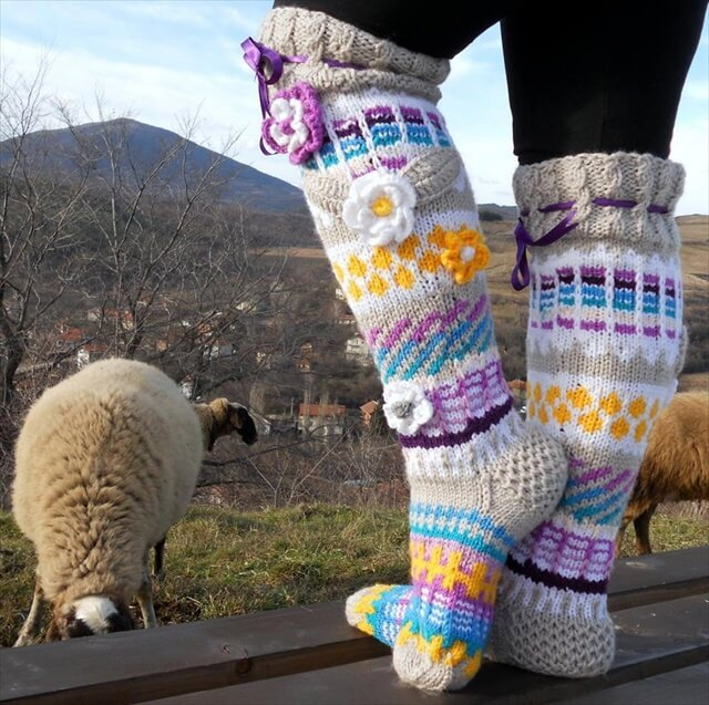 Free Crochet Pattern Knee High Socks : 15 Crochet Knit Pattern For Knee Socks DIY to Make
