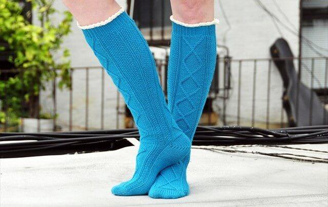 ruffle cable knee socks and leg warmer
