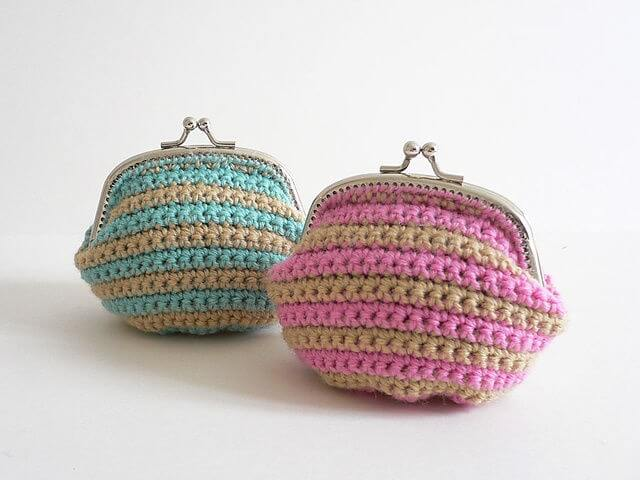 Striped Crochet Coin Purse