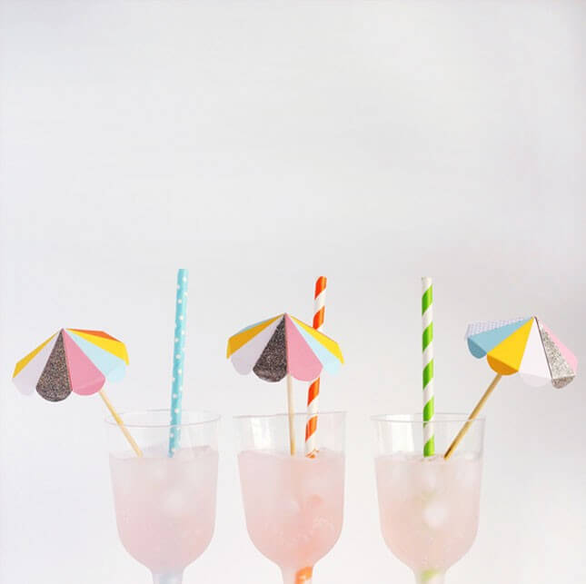 DIY Paper Umbrella Drink Stirrers