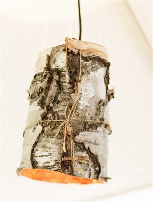 Birch bark lamp