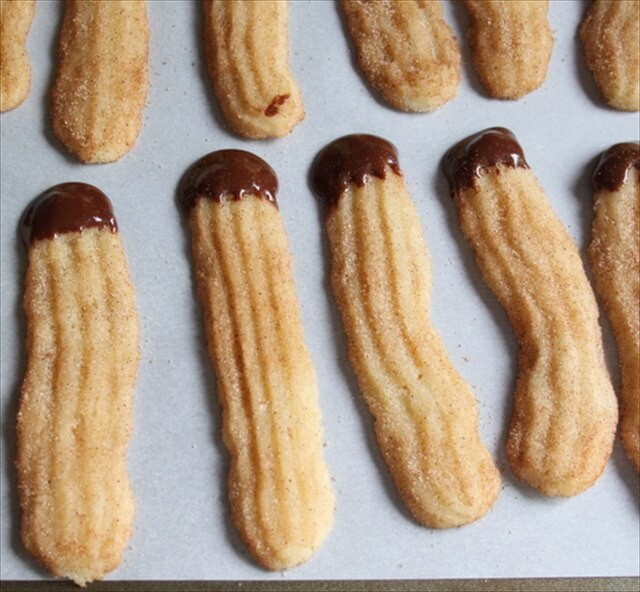 Chocolate-Dipped Churro Cookies