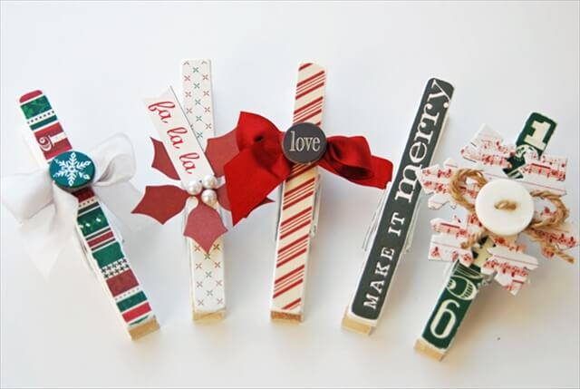 Merry and Bright Holiday Clothespins.