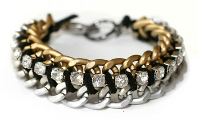 Chain and Rhinestone Bracelet: