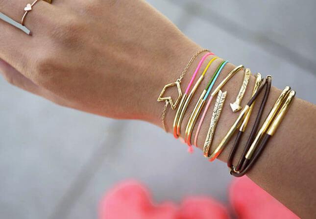 Gold Tube Bracelets: