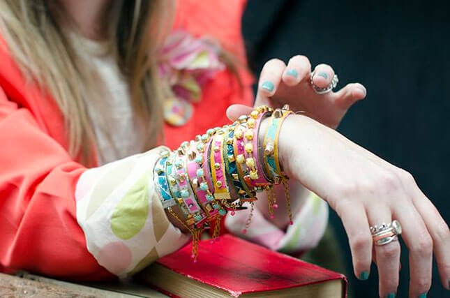 Leather and Fabric Studded Bracelets:
