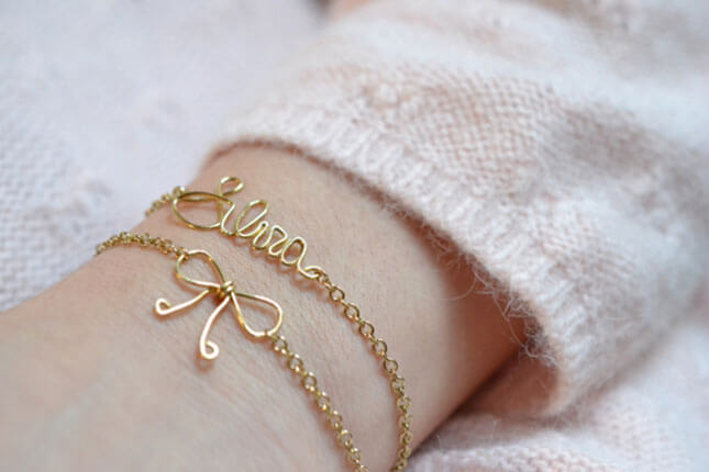 Name and Bow Wire Bracelet: